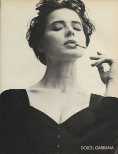 Isabella Rossellini shot by Steven Meisel for the Dolce & Gabanna Fall 1989 campaign.