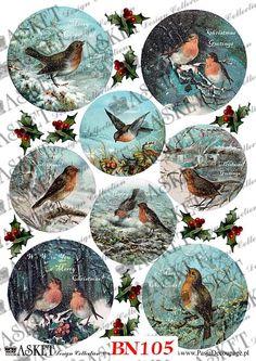 papier decoupage ptaszki na śniegu