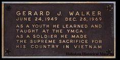 Image of plaque honoring Gerald J. Walker of Hoboken, Vietnam War military casualty, YMCA, Hoboken. Plaque Design, Vietnam War, Photograph, Military, Image, Photography, Photographs, Military Man, Fotografia