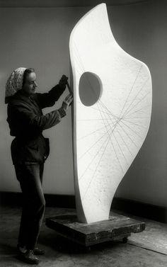 Barbara Hepworth working on Curved Form, Bryher II