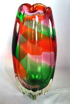 SANYU~JAPAN~JAPANESE~VINTAGE~RAINBOW~MULTI-COLOUR~ART GLASS~VASE~8.5H~1.4KG Lots more beautiful art glass available at: http://www.ebay.co.uk/usr/seraphimslair2 Also see my Twitter: https://twitter.com/Seraphimslair