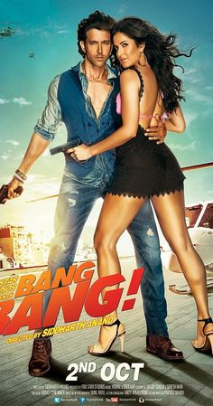 Katrina Kaif Bang Bang New Poster. Katrina Kaif and Hritik Roshan starer Bang Bang will be releasing next month but already buzzing due to sizzling chemistry between them. Bollywood Posters, Bollywood Actors, Bollywood News, Bollywood Celebrities, Bollywood Gossip, Bollywood Songs, Bollywood Fashion, Movies 2014, Good Movies