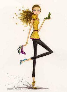 bellar pylar   Shoes- a closer look at card panel 3. Artwork Copyright Bella Pilar.