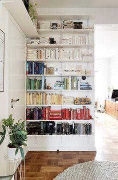 Des livres classés par couleurs dans un intérieur monochrome blanc