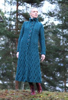 Hand knitted coat with long sleeves and high by IlzeOfNorway