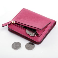 Women Real Leather Slim Bifold Wallet Card Coin Holder Passcase Hipster Purse  #teemzone #CoinPurse