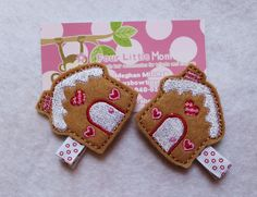Embroidered Felt Gingerbread House Hair Clip