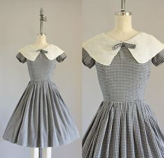 Vintage 50s Dress/ 1950s Cotton Dress/ Black by WhenDecadesCollide, $78.00