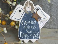 "Classroom Helper Salt Dough Angel Other Occupations, Colors and Phrases available. Cello gift wrap and ""care"" tags included by cookiedoughcreations, $6.95 https://www.etsy.com/listing/175738500/classroom-helper-salt-dough-thank-you?ref=shop_home_active_9"