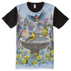 Bluebirds Goldfinches Flower Garden Fountain Blue