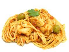 Spaghetti with Chicken Boricua style (Espaguetis con Pollo Criollo)