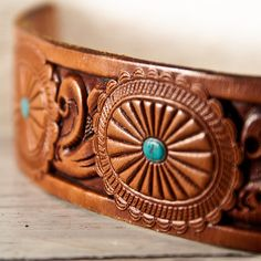 Tooled Leather Cuff Unique Jewelry by rainwheel on Etsy