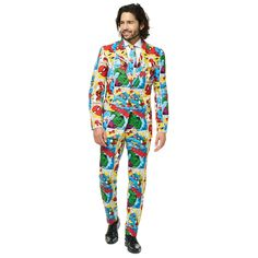 Save the day with strong action at your next special event with this men's Marvel Comics novelty suit and tie set from OppoSuits. Types Of Jackets, Jacket Types, Men's Jackets, Superhero Fashion, Tall Pants, Tie Set, Suit And Tie, Printed Tees, Mens Suits