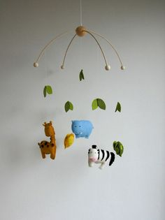 Baby Mobile, Safari Animal Mobile, Wool Felt Mobile, Wild Animal Mobile…