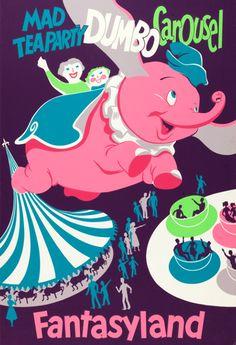 Disneyland Poster advertisement for Dumbo the Flying Elephant ride c. 1960s #DisneySide