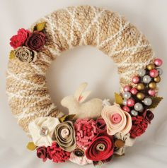 Easter Yarn Wreath with Felt Flowers and Rabbit 12in by cakoons
