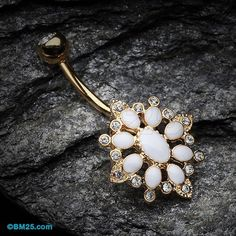 Radiant Flower Multi-Gem Marquise Reverse Belly Button Ring