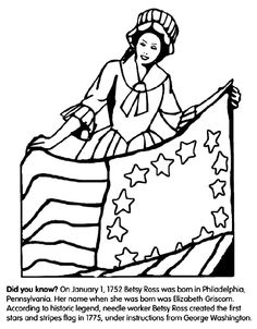 betsy ross flag coloring page - charlotte watts on pinterest