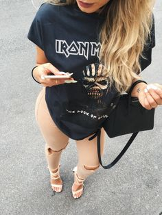 Rocky chic in this attire with my new favorite t-shirt from ASOS. All linked bellow. Adlinks and credit Iron maiden shirt - HERE (ASOS) Bag - Givenchy (HERE) similar HERE or HERE Camel jeans - HERE or similar HERE Heels - simmie shoes ( HERE)
