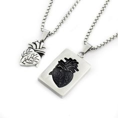Cheap valentine day gift, Buy Quality anatomical heart necklace directly from China heart necklace Suppliers: Couples Jewellery Mens Puzzle Anatomical Heart Necklace Pendant Black Color Titanium Steel Long Chain Punk Valentine Day Gift Single Diamond Necklace, Diamond Cross Necklaces, Gold Bar Necklace, Heart Pendant Necklace, Necklace Set, Heart Necklaces, Couple Necklaces, Couple Jewelry, Bridesmaid Bracelet