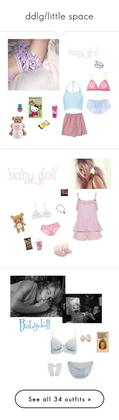 """ddlg/little space"" by littlesweetheart123 ❤ liked on Polyvore featuring Topshop, Motel, Hello Kitty, Mi-Zone, Charlotte Olympia, Forever 21, Zak! Designs, Monsoon, vintage and UGG Australia"