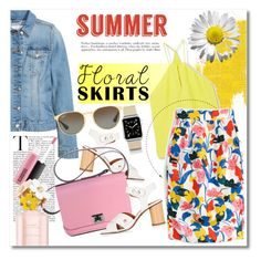 """Summer floral skirts"" by vkmd ❤ liked on Polyvore featuring H&M, MANGO, J.Crew, Topshop, Casetify, Ray-Ban, MAC Cosmetics, Marc Jacobs and Floralskirts"