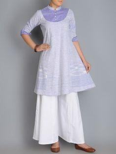Purple Roll-Up Sleeve Kalidar Khadi Kurta #Khadi #Cotton #Fashion #Organic #Womenswear #Bottoms #Tops #Kurtas #Shirts #Indian #CottonRack #SS15 #Monsoon #Palazzos #Handwoven #Handspun #Handcrafted