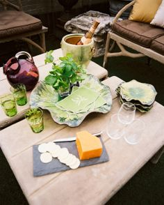 Tablescape - A pair of tables surrounded by outdoor furniture