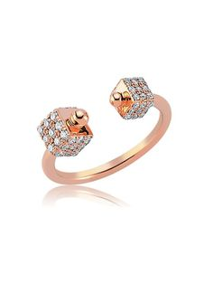 Bee Goddess Rose Gold Diamond Cube Ring - Bee Goddess Rose Gold Diamond Cube Ring. 14k rose gold open ring features a pave diamond cube on each end. Total diamond weight 0.52cts.