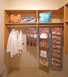 The Closet Collection (Paisley)- Complete closet organization has never been easier! This 10-piece set includes: one Closet Keeper, one Handbag Cubby, one Shoe Cubby, one Stocking Stuffer, one large Clever Cache, and five Space-Saving Hangers.