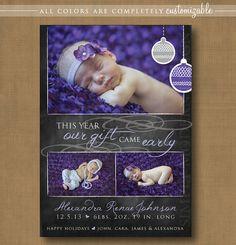 birth announcement christmas card, chalkboard, holiday birth announcement, PRINTABLE #chalkboard #christmas #birth