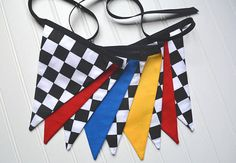 Checkered Black and White Racing Pennant by ProvidencePennants with Primary Colors - Hot Wheels - Boys Birthday Party - Matchbox Cars