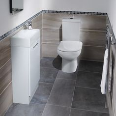Good storage under the basin White Gloss Cloakroom Suite. Not sure about the mosaic finish. Cloakroom Toilet Downstairs Loo, Cloakroom Sink, Cloakroom Suites, Cloakroom Ideas, Bathroom Ideas, Washroom, Small Bathroom Storage, Bathroom Styling, Small Bathrooms
