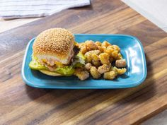 """Oklahoma-Style S'mack Burgers with Ranch-Flavored Tater Tots (Burger Night Done Right) - Rachael Ray, Meals"""" on the Food Network. Tater Tots, Paninis, Quesadillas, Beef Recipes, Cooking Recipes, Top Recipes, Skillet Recipes, Cooking Gadgets, Salads"""
