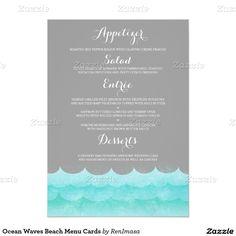 Ocean Waves Beach Menu Cards