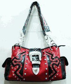 cartera vaquera cuero occidentales bolsos Estilo bolsos hombro cremallera negro de bolsillo boutique rojo Bling bolsos bolso zqtdf1W
