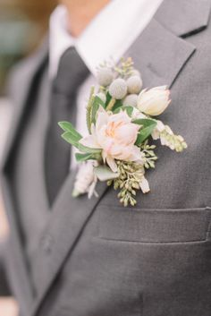 Love this complex boutonniere to reflect the different colors and sizes of flower that are in my bouquet. Groomsmen Boutonniere, Groom And Groomsmen Attire, Boutonnieres, Corsage And Boutonniere, Floral Wedding, Wedding Colors, Wedding Bouquets, Wedding Flowers, Perfect Wedding