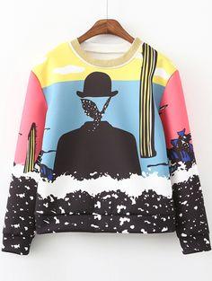 Round Neck Graffiti Print Sweatshirt 16.54