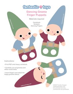 Adorable gnome finger puppets and mobile Paper Puppets, Hand Puppets, Paper Toys, Shadow Puppets, Paper Doll Costume, Finger Puppet Patterns, Origami Templates, Box Templates, Puppet Crafts