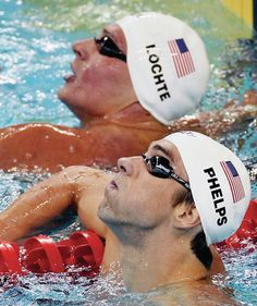 Micheal Phelps and Ryan Lochte. Micheal is officially the most decorated Olympian of ALL time!