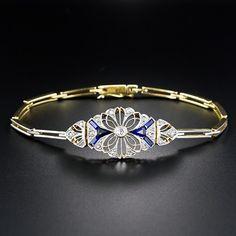 Bracelet: Edwardian diamond and synthetic sapphire bracelet, gold and platinum, price: $2750