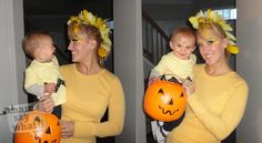 Mom and baby DIY Halloween costumes. Charlie Brown and Woodstock. So adorable!