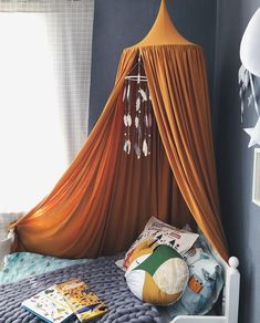 Bed Canopy – Play Canopy Mustard – Orange Nursery Canopy – Baldachin - Bed and Bedcover Kids Bed Canopy, Canopy Tent, Canopy Curtains, Nursery Bedding, Nursery Decor, Gray Bedding, Queen Bedding, Modern Bedding, Unique Bedding