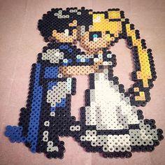 Sailor Moon and Tuxedo Mask hama beads by pixelperlerfect