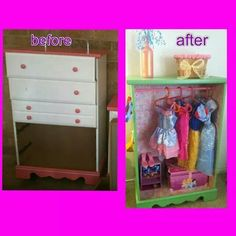 Repurposed dresser into little girls dress up closet. want to do this with the old dresser for Lyndsi Little Girl Dress Up, Little Girl Closet, Girls Dress Up, Little Girl Rooms, Little Girls, Furniture Makeover, Diy Furniture, Dress Up Closet, Dress Up Storage