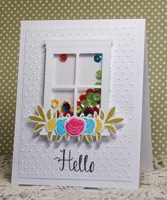 hello window shaker card by Rosemary D