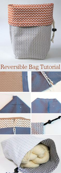 Reversible Drawstring Gift Bag DIY Tutorial http://www.free-tutorial.net/2017/09/reversible-project-bag-tutorial.html