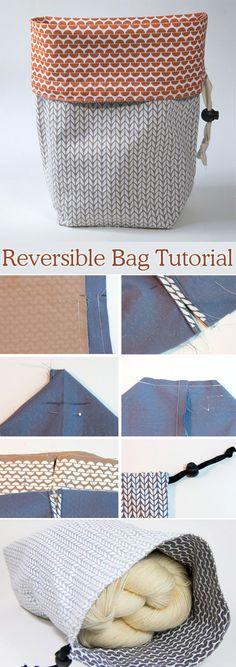 Reversible Drawstring  Gift Bag DIY Tutorial    http://www.free-tutorial.net/2017/09/reversible-project-bag-tutorial.html