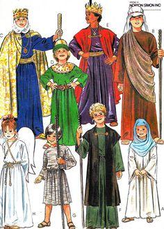 Christmas Nativity Scene Costumes Vintage Sewing Pattern McCalls 7733 Shepherd King Mary Angel Joseph Bust 32