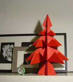 Items similar to Big RED Origami Christmas Tree . Ornament for home or Christmas Table. on Etsy